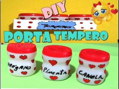 DIY Porta tempero feito com potes de fermento em pó
