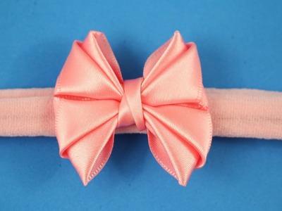 Passo a passo: Laço de fita de cetim. como fazer faixa fina de meia de seda