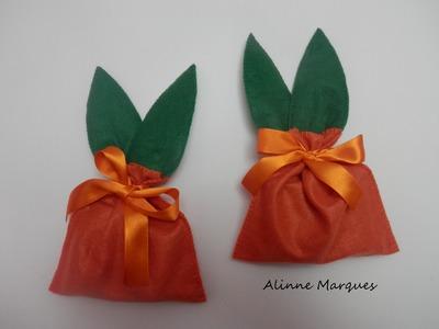 Saquinho coelho para chocolate em feltro - Artesanato Passo a passo