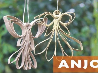 Anjo de rolinhos de papel higienico - anjinho para enfeitar arvore de Natal
