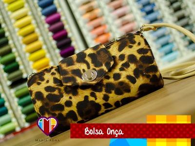 Bolsa carteira de tecido Onça - Maria Adna Ateliê - Cursos e aulas de bolsas e carteiras de tecido