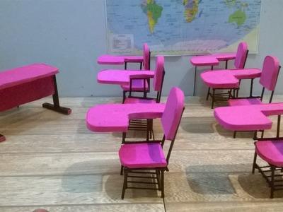 Como fazer cadeira escolar para Barbie e outras bonecas