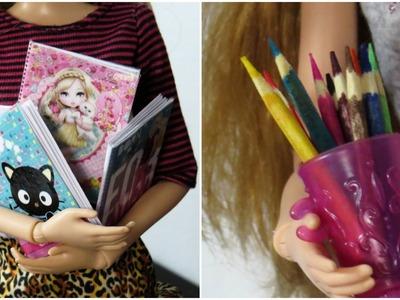 Como Fazer Caderno e Lápis de Cor para Barbie e Outras Bonecas