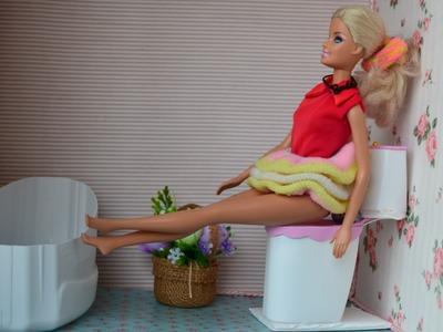 Como fazer uma sanita, vaso sanitario  para bonecas, banheiro da Barbie