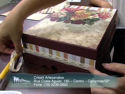 Mulher.com 21.11.2014 - Caixa de bijuterias scrap decor por Marisa Magalhães parte 2