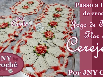 PAP Jogo de tapete de crochê Flor de Cerejeira por JNY Crochê