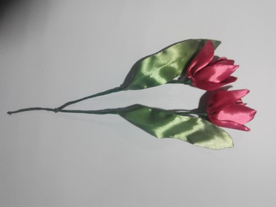 Tulip of satin ribbons. тюльпан из атласной ленты