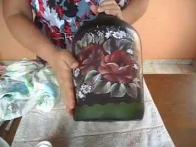 Como fazer decoupage em vidro - Making glass découpage