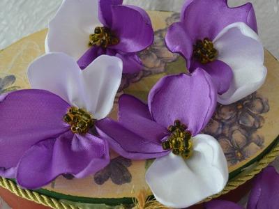 Como fazer flores violetas ou amor perfeito  de fita de cetim