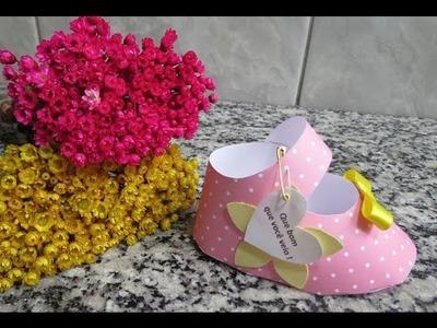 Decoração Chá de Bebê - Porta guardanapo Sapatinho de Bebê