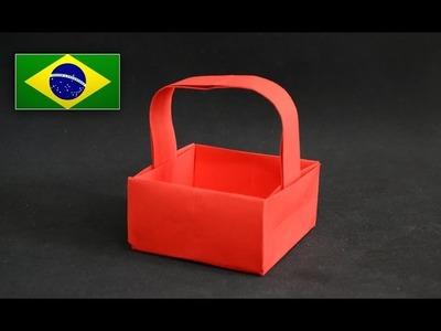 Origami: Cesta - Instruções em português PT BR