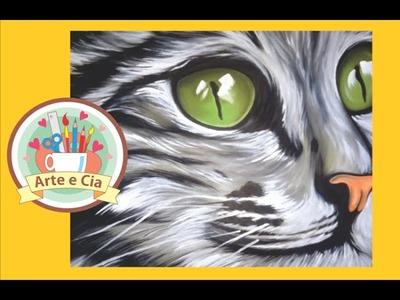 """Pintura Acrílico sobre MDF """"Olhar do Gato"""" passo a passo"""