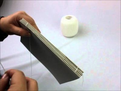 Processo de costura da encadernação dos blocos