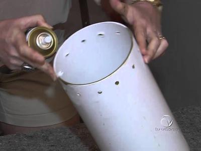 Aprenda fazer uma luminária com cano de PVC no quadro faça você mesmo