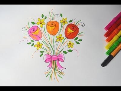 Como desenhar um Buque de Rosas com Flores (simples e passo a passo)