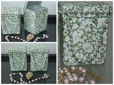 Porta jóias,feito com caixa de leite♡♡♡ .