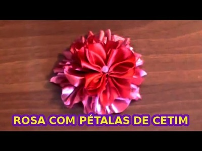 Como Fazer Flor De Fita De Cetim - Uma Rosa com Pétalas de Cetim