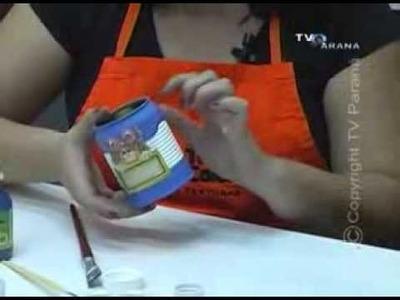 Como reciclar latas com pintura e decoupage