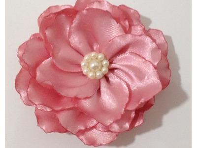 Flor Beliscada - Flor Queimada - Flor de Cetim - Rosa de Cetim - DIY Fabric Flower