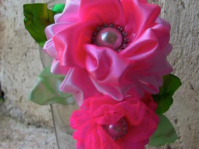 Flor fofinha de fitas Passo a Passo