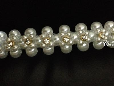Tiara de Pérolas e Strass - Passo a Passo - Tiara de Noiva - Pearl Headband #2