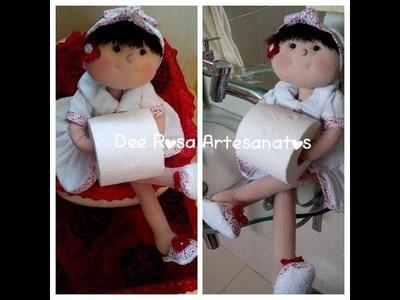Boneca porta-papel higiênico, bracinho e suporte para ela ficar sentada!