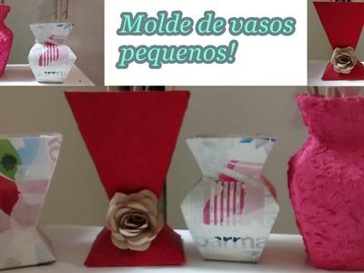 Como fazer molde de vasos pequenos - Vasos feito com caixa de leite!