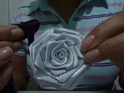 Flor de tecido rosa quadrada passo a passo para iniciantes