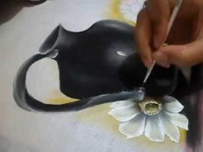 Jeito super fácil para pintar um jarro preto.