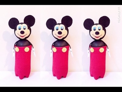 Porta treco de garrafa pet - Mickey