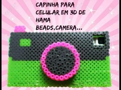 Capinha de celular 3d de hama beads (camera fotografica)