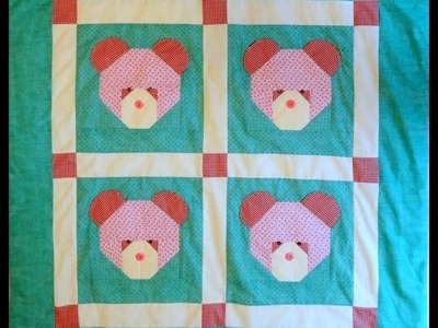 Manta ou colcha infantil em patchwork As ursinhas - Maria Adna Ateliê - Cursos e aulas de patchwork
