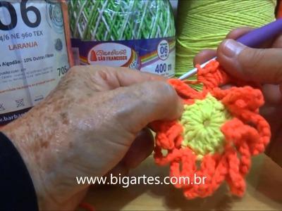 Aprenda a fazer: Flor de tramas aneladas em crochê BIG artes.com.br