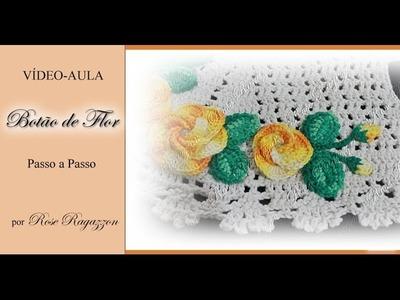 Botão de Flor em Crochê para Aplicações
