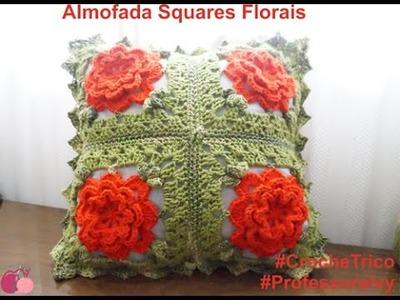 Crochê  - Almofada Squares Florais