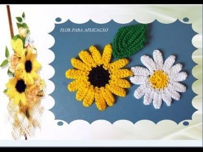 Flor de Crochê para aplicação-Tutorial Passo a passo
