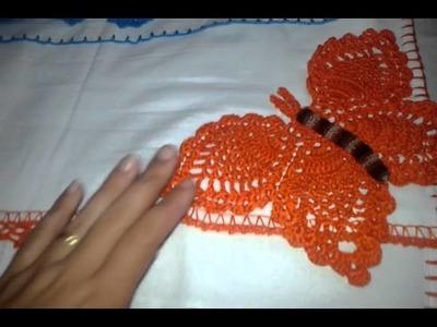 Panos de prato aplicação de borboleta de crochê