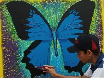 Pintando uma borboleta azul