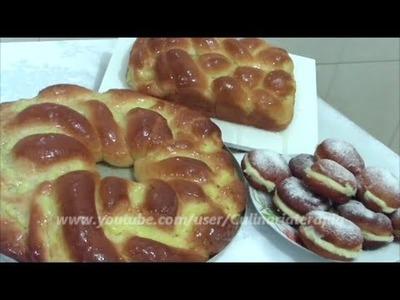 Rosca recheada e sonho de padaria.