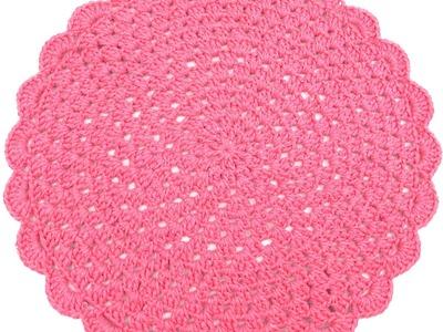 Sousplat Redondo de Crochê Rosa Barbante Número 6