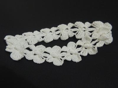 Tiara de Crochê Com Borboletas - Parte 2