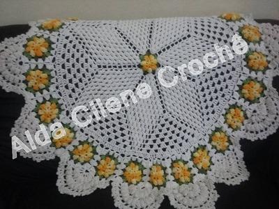 Toalha de Mesa com Flor Pipoca em Crochê ( Parte 2 )