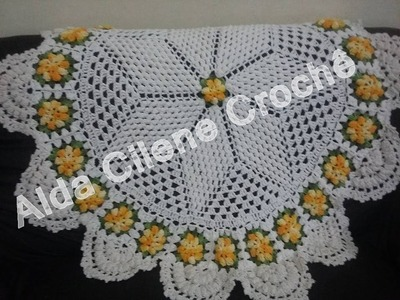 Toalha em crochê flor pipoca ( parte 4 )
