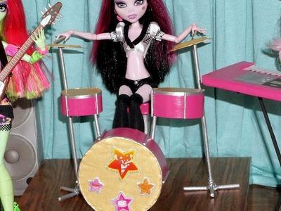Como fazer bateria musical para boneca Monster High, Barbie, EAH, etc