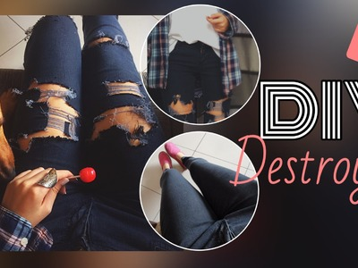 DIY. Customizando calça destroyed. Michelle Garcia
