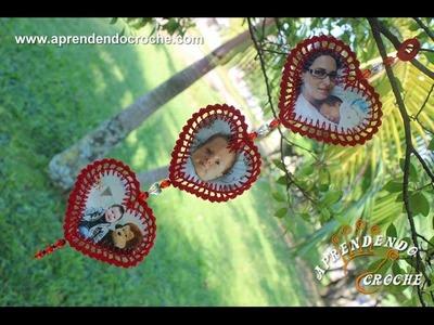 Móbile Fotográfico Crochê Coração - Aprendendo Croche