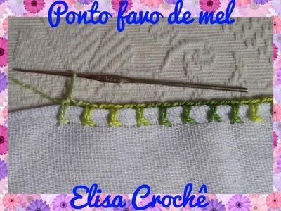 Ponto caseado favo de mel em crochê # Elisa Crochê