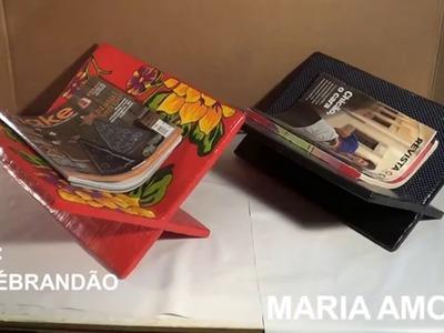 Porta-revista de papelão. cardboard magazine rack. revistero de cartón