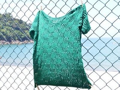 Saída de praia, tricô, Claudia Maria, Ateliê na TV
