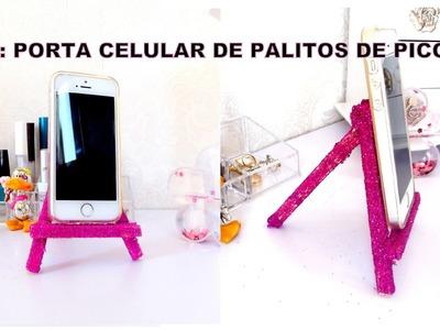 DIY: PORTA CELULAR DE PALITOS DE PICOLÉ.